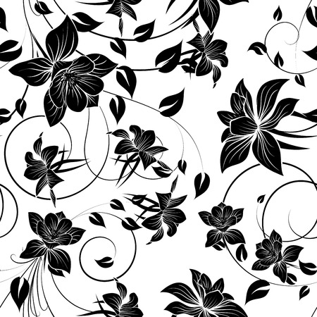 group pattern: Seamless vector floral pattern. For easy making seamless pattern just drag all group into swatches bar, and use it for filling any contours. EPS 10.