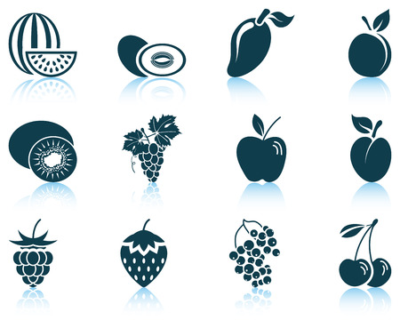 currants: Set of fruit icon. EPS 10 vector illustration without transparency.