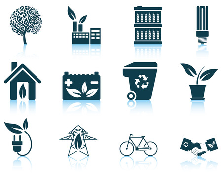 Set of ecological icon. EPS 10 vector illustration without transparency.