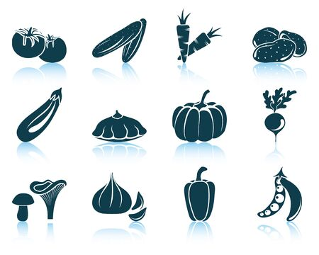 pumpkin tomato: Set of vegetables icon. EPS 10 vector illustration without transparency.