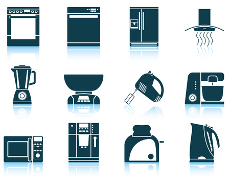 food processor: Set of kitchen equipment icon. EPS 10 vector illustration without transparency.
