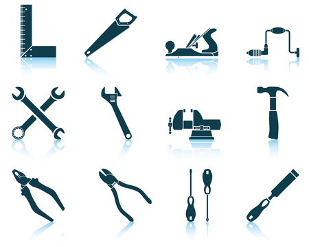 vice grip: Set of tools icon. EPS 10 vector illustration without transparency.