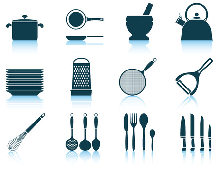 kitchen utensil: Set kitchen utensil icon. EPS 10 vector illustration without transparency.