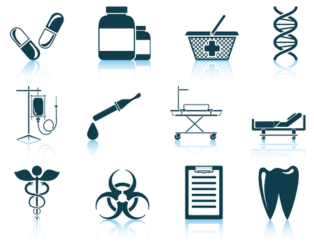 emergency cart: Set of medical icon. EPS 10 vector illustration without transparency.