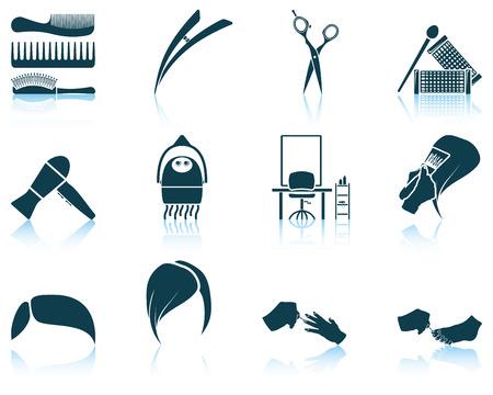 Set of hairdresser icon. EPS 10 vector illustration without transparency. Çizim