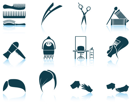 hair brush: Set of hairdresser icon. EPS 10 vector illustration without transparency. Illustration