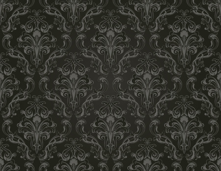 repeating background: Damask seamless vector pattern.  For easy making seamless pattern just drag all group into swatches bar, and use it for filling any contours. Illustration