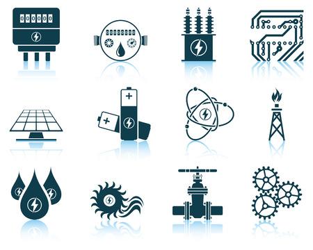 electricidad: Conjunto de iconos de energía. ilustración vectorial sin transparencia. Vectores