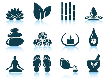 tea candles: Set of spa icons. vector illustration without transparency.