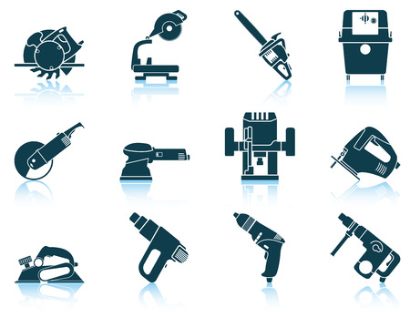 saw: Set of electrical work tool icon. vector illustration without transparency.