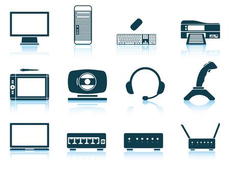 equipos: Conjunto de iconos de hardware. ilustración vectorial sin transparencia. Vectores