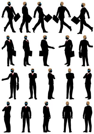 silueta hombre: Silueta de negocios establecido. Muy detallada con las gafas removabale. Ilustración del vector.