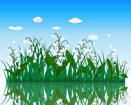 bog: Flower with grass on water surface with reflection. EPS 10 vector illustration with transparency.