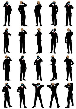 silueta masculina: Silueta de negocios establecido. Muy detallada con las gafas removabale. Ilustración del vector.