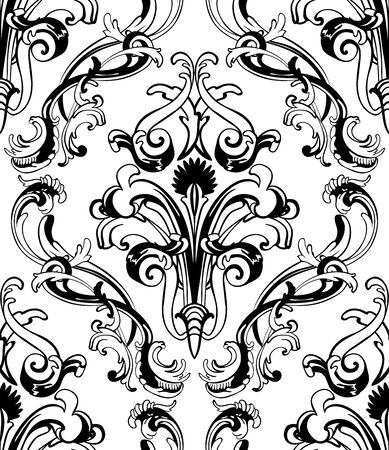 renaissance: Damask seamless pattern. vector illustration without transparency.