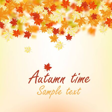 fall trees: Autumn maple leaves background. Vector illustration with mesh.
