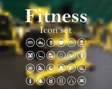 Fitness icon set. vector illustration with mesh and without transparency.