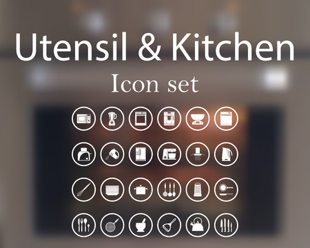 Utensil and kitchen icon set.  vector illustration with mesh and without transparency. Vector