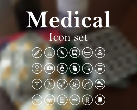 drugs: Medical icon set. vector illustration with mesh and without transparency.