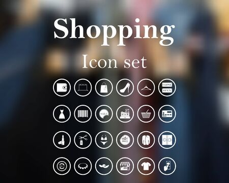 web buttons: Shopping icon set. vector illustration with mesh and without transparency.