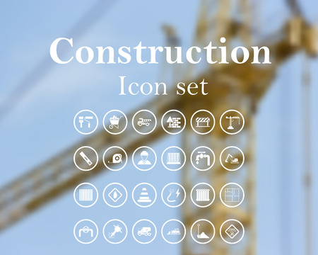 concrete mixer: Construction icon set. EPS 10 vector illustration with mesh and without transparency.