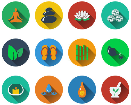 beauty therapist: Set of spa icons in flat design. EPS 10 vector illustration with transparency.