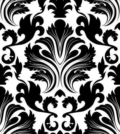 white flowers: Damask seamless pattern. EPS 10 vector illustration without transparency.
