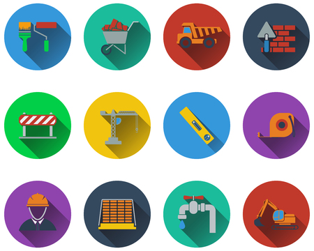 Set of construction icons in flat design. EPS 10 vector illustration with transparency.