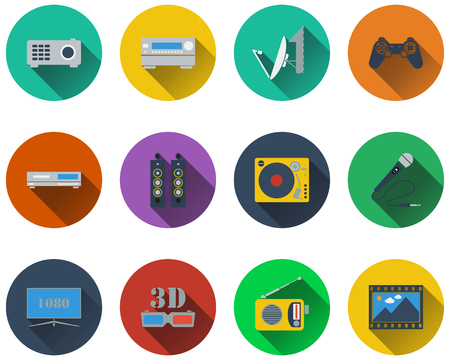 tv panel: Set of multimedia icons in flat design. EPS 10 vector illustration with transparency.