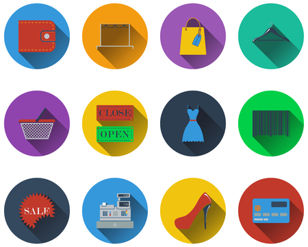 Set of shopping icons in flat design. EPS 10 vector illustration with transparency. Vector