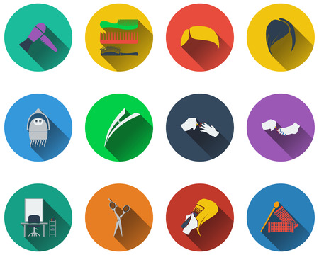 haircutting: Set of barber icons in flat design. EPS 10 vector illustration with transparency.