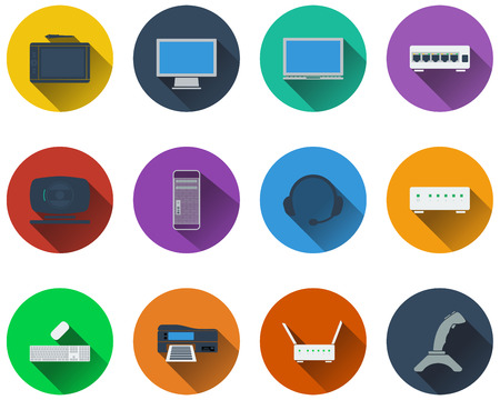 lcd monitor printer: Set of computer icons in flat design. EPS 10 vector illustration with transparency.