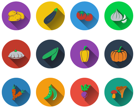 in peas: Set of vegetables icons in flat design. EPS 10 vector illustration with transparency.