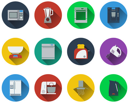 Set of kitchen equipment icons in flat design. Illustration