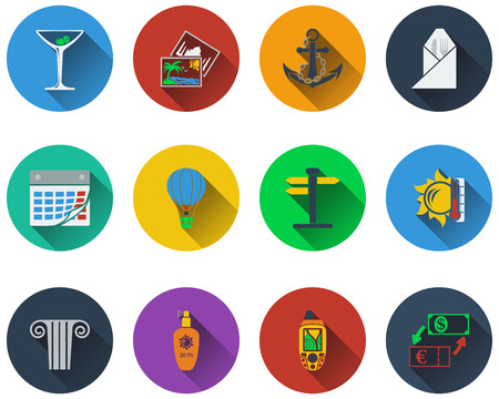 Set of travel icons in flat design. Illustration