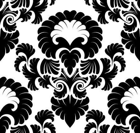 black damask: Damask seamless pattern. Illustration