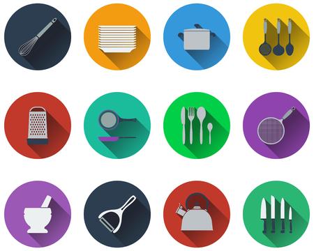 peeler: Set of kitchen utensil icons in flat design.