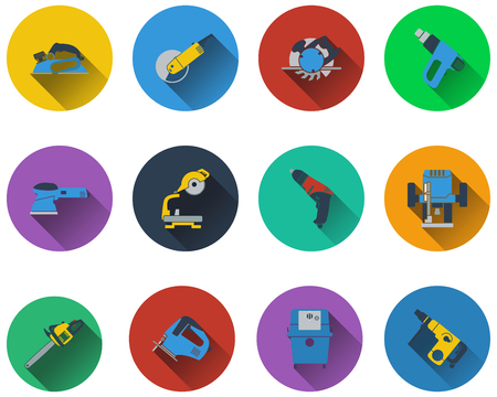 steel mill: Set of electrical work tools icons in flat design.