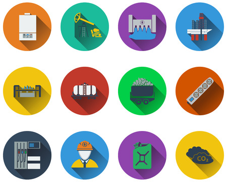 gas boiler: Set of energy icons in flat design.