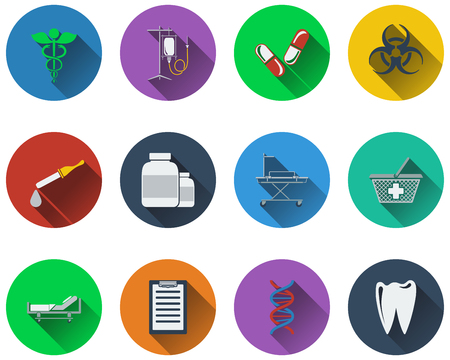 emergency cart: Set of medical icons in flat design.  Illustration
