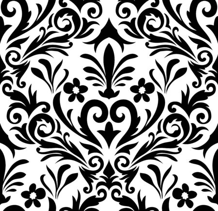 black damask: Damask seamless pattern. vector illustration without transparency.