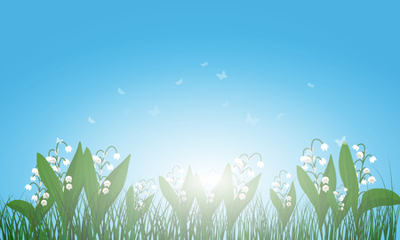 transparency color: Meadow color background with and sun. All objects are separated. Vector illustration with transparency. Illustration