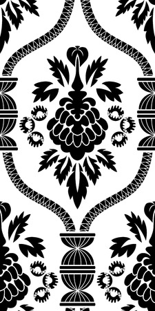 renaissance: Damask seamless pattern vector illustration without transparency.