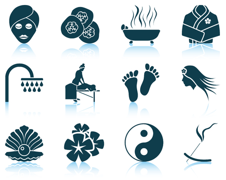 natural therapy: Set of spa icons.
