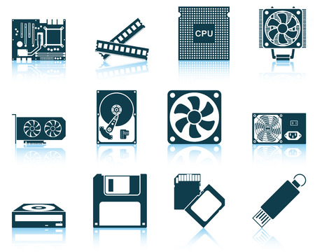 hardware: Conjunto de iconos de hardware de ordenador.