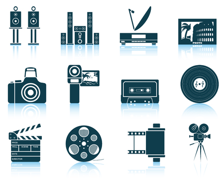 multimedia icons: Set of multimedia icons. Illustration