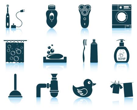 epilator: Set of bathroom icons.