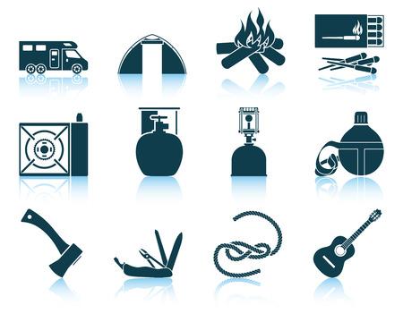 travel burner: Set of camping icons.