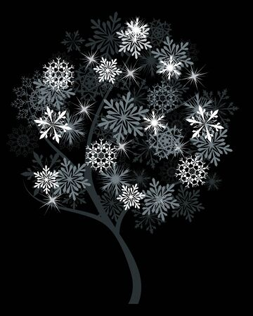winter tree: Winter tree with snowflakes on black background.