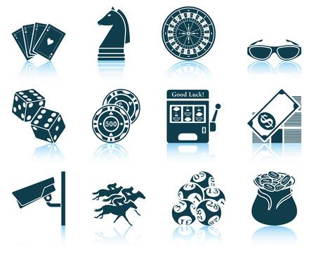 Set van casino pictogrammen. Stock Illustratie